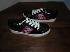 New Girls Black Shoes Sneakers Low Top Laces Sparkle Glitter Kidpik
