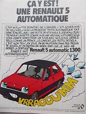PUBLICITE  voiture automobile RENAULT 5 AUTOMATIC 1300  en 1978 Ref. 2743