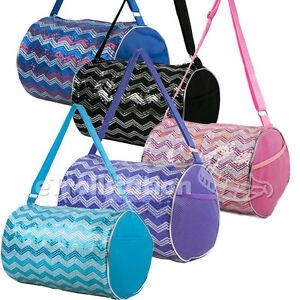 Kid's Girls Dance ChevronWave Sequin Duffle Bag Gymnastics Cheer Colors Option