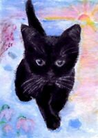 BCB Black Cat Snow Sunset Winter Flowers Print of Painting ACEO 2.5 x 3.5 Inches