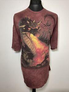 The Mountain 2005 Dragon & Knight Fantasy Maroon Red Tie Dye T-Shirt Tee 3XL