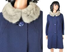 Vintage Princess Coat Sz M 60s Dark Blue Wool Gary Mink Fur Collar Winter Jacket
