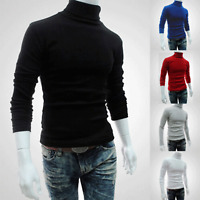 Men's Roll Turtle Neck Tops Pullover Knitted Jumper Sweater Slim Fitted Shirts