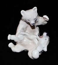 Royal Copenhagen Denmark #1107 Two Polar Bears Playing By Knud Kyhn