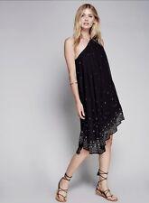 NEW Free People black Chiffon One Shoulder Beaded Asymmetrical Swing Dress 8