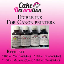 Color Edible Ink Refill Kits for Canon Printer 4 x 100ml (4x 3,4oz)