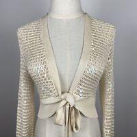 BCBG Maxazria Women's Tie Belt Sequined Crop Beige Silk Cardigan Size S ~A17