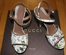 $675 GUCCI CANVAS FLORA M.IN.SMALL/N.CHAR PLATFORM SANDALS sz 38 ita/8us