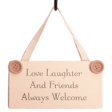 Floral Wooden ' Love Laughter Friends...' Wall Hanging Plaque