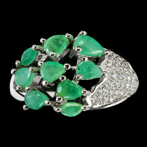 Unheated Pear Emerald 5x3mm Cz 14K White Gold Plate 925 Sterling Silver Ring 8