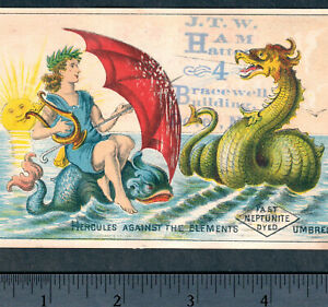Antique 1800's Sea Dragon vs Hercules Hydra Drakon Myth Neptunite Umbrella Card