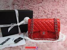 RARE 16S CHANEL 2.55 Coral Orange Red Lambskin Double Flap Jumbo Bag Silver HW