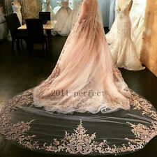 3M Long Bridal Veils Wedding Veil White Ivory Champagne Pink Lace Appliques