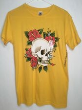NWOT Ed Hardy Skull Rose Mens Rhinestone Crew Neck T-Shirt S Yellow MSRP $90