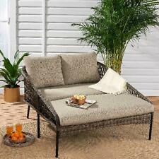 Modern Outdoor Patio Porch Wicker Furniture 2 PC Daybed  Lounger with Cushions