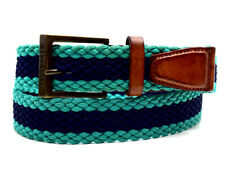 Ted Baker Mens Fabric and Leather Braided Belt Green Navy Brown Size S/M