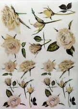 Rice Paper for Decoupage Scrapbook Craft Flowers White Roses 169