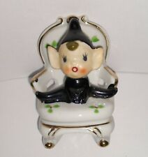 New ListingVintage Mid Century Ceramic Pixie Elf on a Chair in Black Outfit Made in Japan