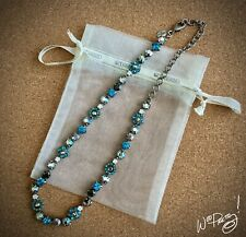 SORRELLI Classic Blue Crystal Floral Necklace In SALT WATER - NBE2ASSWA