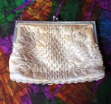 Vintage Glass White Bead &  Satin Off White Evening Bag  Made in Hong Kong