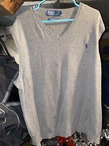 Polo Ralph Lauren Pima cotton Vneck Sweater Vest Mens 3XB Big gray blue horse