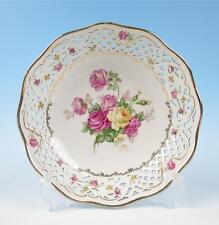 """Vintage German 9"""" Reticulated Bowl Pink Yellow Roses Porcelain Dresden Schumann"""