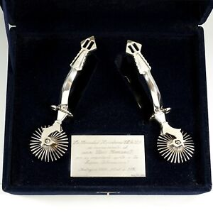 Vintage Hand Made .900/1000 Silver Chilean Chile Cowboy Huasos Spurs, Boxed
