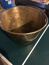 Large 12 Brass Iron Handle Beatiful Hammered Bucket Pail Old Antique Decor