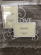 Cream Metal 'love' Duo 4x6 Handcrafted Photo Picture Frame