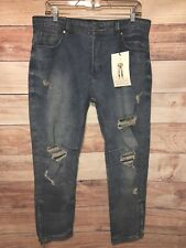 Cotton On Women's Blue Jeans Size 34 Destroyed Tapered Leg New With Tags LBB76