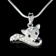 w Swarovski crystal ~Red Fox Wildlife Animal Lover Charm Chain Necklace New Cute
