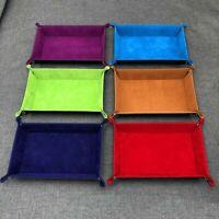 Rectangle PU Leather Dice Plate Bar Nightclub Game Board Gift Storage Tray Blue