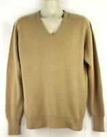 NEIL NORMAN Tan Beige Cashmere V-Neck Pullover Sweater Mens Large Long Sleeves