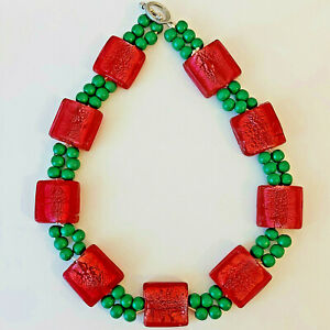 """Beautiful & Colourful Painted Wood Murano Foiled Art Glass Beaded Necklace - 18"""""""