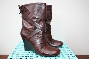Bertie Brown Leather Wedge Boots Size EUR 40 UK 7
