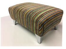 Luxury Upholstered Footstool In A Multi Stripe Fabric With Chrome Legs