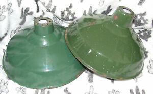 2 x mid century salvaged industrial light shades,Enamel,Green,vintage, Free p&p