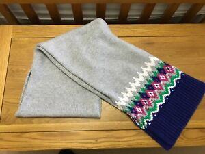 Boden Grey Blue Pink Green Chunky Knit Fair Isle Scarf and Hat Set