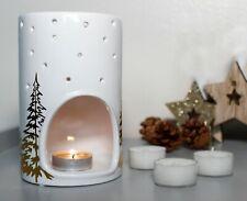 White Yankee Candle Holder Gift Set Christmas Tea Light Burner Home Xmas Decor