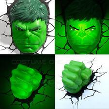 Marvel Avengers HULK Face/Head & Fist 3D Deco Wall LED Night Light Set Art Decor