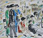 A MEURICE, superbe aquarelle signée Meurice, tableau, SCÈNE de PLAGE .
