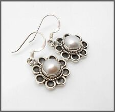 Floral Design Ladies 925 Sterling Silver,Mother of Pearl, Drop,Hook Earrings