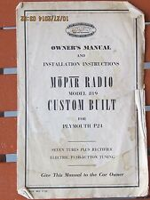 Mopar Plymouth 1953 1954? Radio Owner's Manual Model 819 P24