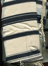Jewish Tallit With Black And White Stripes And (Of Course) Fringes /*Rarest*