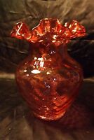 "Vintage Fenton Art Glass Diamond Optic Ruby Overlay Ruffled Vase 8.5"" Pink Quilt"