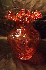 "Vintage Fenton Art Glass Diamond Optic Ruby Overlay Ruffled Vase 8.5"" Pink Quilt"