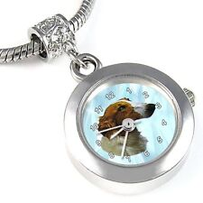 Borzoi / Russian Wolfhound Silver Watch European Charm Bead For Bracelet EBA72