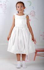 Raso Avorio Per Bambina Da Festa Damigella Matrimonio Vestito Elegante 5-6 Anni