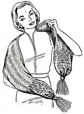 Vintage Knitting PATTERN to make Shawl Scarf Muffler Pockets All Sizes KnitShawl