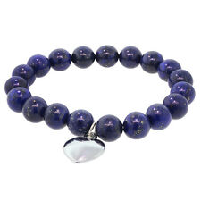 Round 10mm Blue Lapis Lazuli Stretchy Bracelet with Heart Charm
